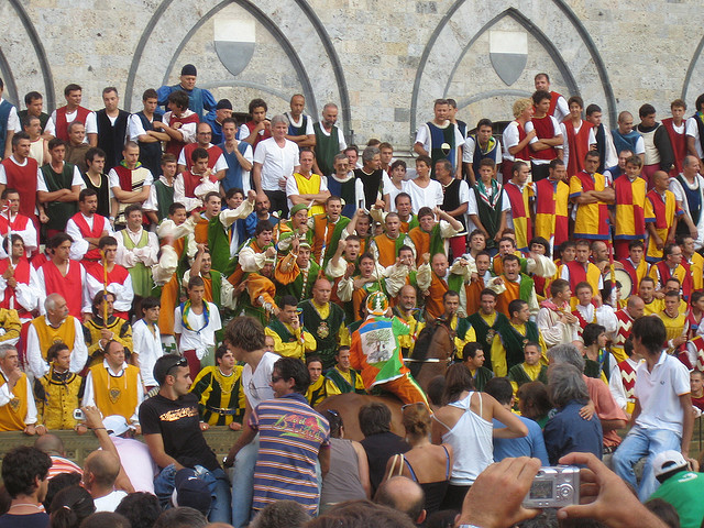 Palio day in Siena. Photo with CC License by Malcom Moore