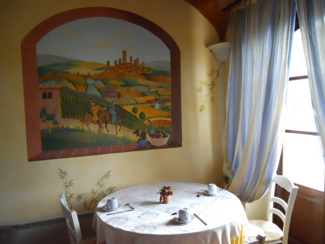 Romantic Breakfast at Farmhouse Taverna di Bibbiano Tuscany Siena San Gimignano: breakfast is served outside, in warm seasons, in beautiful dehors surrounded by flowers